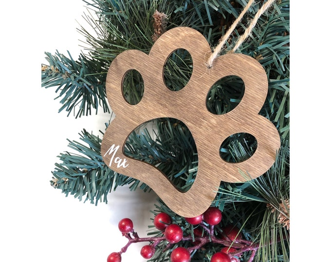 Personalised Christmas Dog Stocking Name Tags, Personalized Gift Tags, Stocking Paw Holiday Decorations, Stocking Tags, Wood Tree Ornament