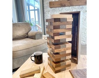Giant Tower Block Game - Jenga inspired Game - Kid Adult Game - Jumbo Yard Game, Large Wood Block Tower Game with Wood Box, Giant Tower Game