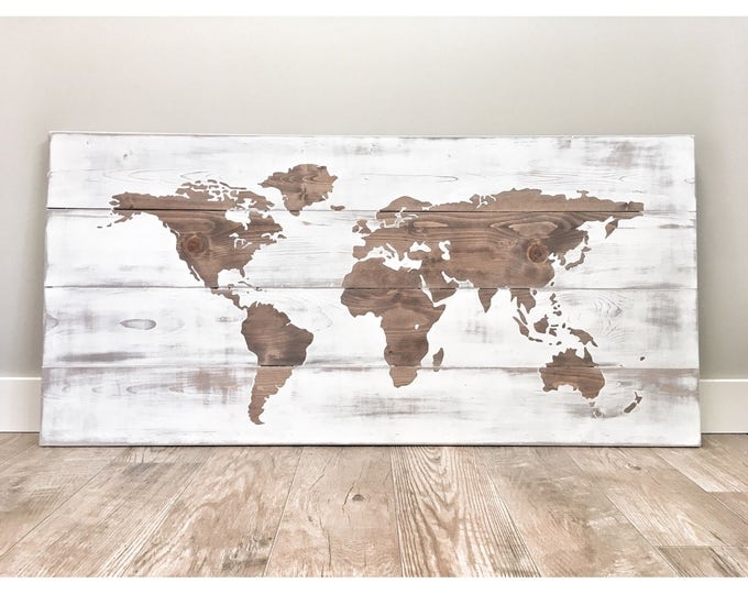 Huge World Map, Rustic Wood Decor, Travel World Map, Push Pin Travel Map, World Globe, Farmhouse Wall Decor, Large World Map, Distressed Map