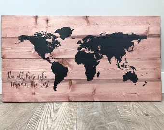FREE SHIPPING | Office World Map, Office Wall Decor, Wood World Map, Stock Exchange Market, Business Art, Art for Office, Push Pin Globe Map