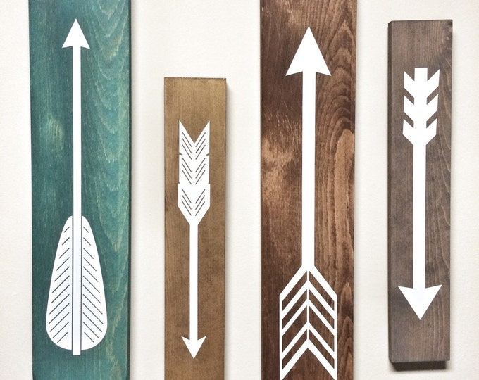 Rustic White Wooden Arrows - 4 Piece Set, Rustic Decor, Farmhouse Decor, Arrow Decor, Rustic Nursery Decor, Gallery Wall Decor, Wooden Arrow