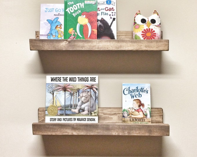 Set of 2 Picture Ledge Shelves, 24 inch Floating Shelves, Nursery Kids Room Shelf, Toy Book Shelf, Rustic Wood Shelves, Gallery Wall Shelf