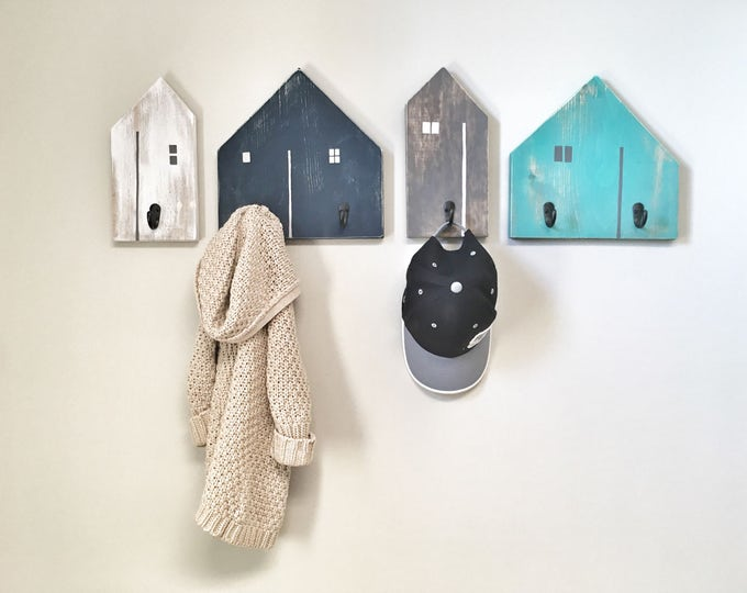 Rustic Wooden Entryway Farmhouse Home House Hooks, Wood Coat Rack, Rustic Home Decor Kids Nursery Hooks, Kids Room Decor Wall Hooks for Kids