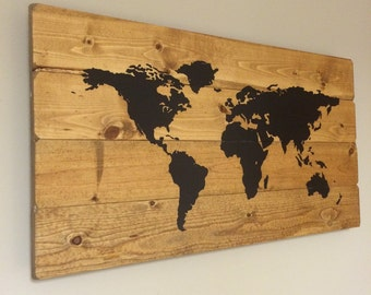 Rustic Wood World Map, Rustic Decor, Farmhouse Decor, Rustic Nursery Decor, Gallery Wall Decor, Wooden Black World Map