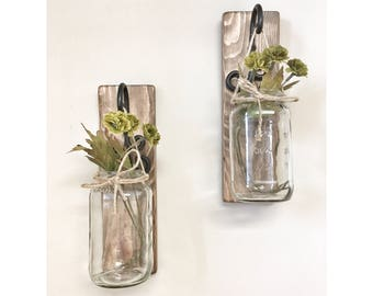 Set of 2 Rustic Mason Jar Wall Sconces, Country Decor, Wall Hanging with Black Hooks, Shabby Chic, Farm House Decor, Rustic Home Decor
