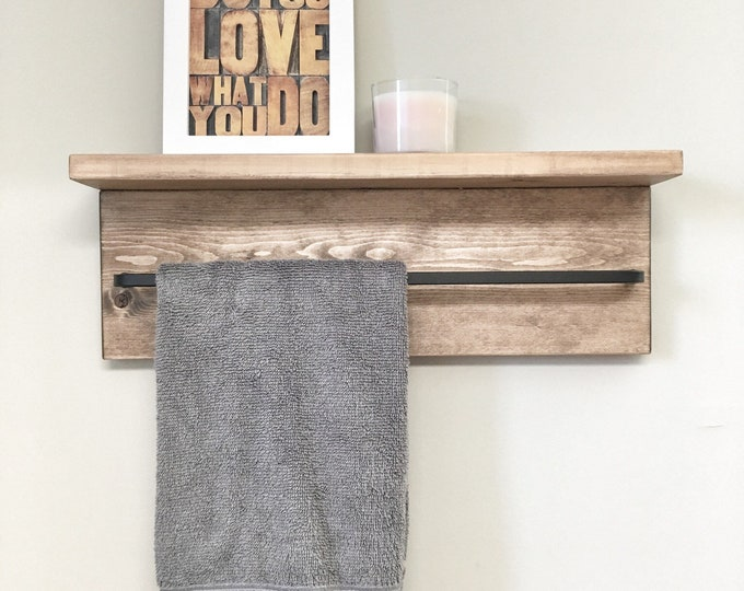 Rustic Wooden Rack Ledge Shelf, Ledge Shelf, Wooden Rack, Rustic Home Decor, Towel Rack Shelf, Bathroom Rack, Farmhouse Decor craft storage