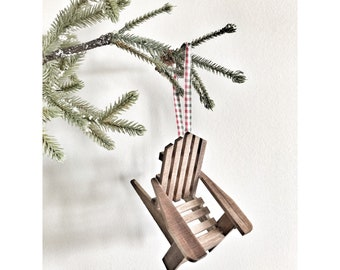 Wooden Christmas Tree Ornament, Adirondack Chair Ornament, Mini Wood Chair Ornament, Cabin Tree Decoration, Stocking Decoration, Cabin Chair