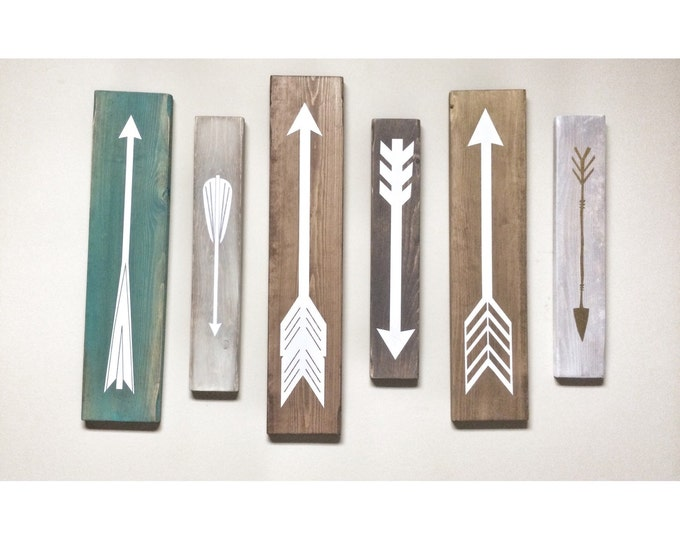 Rustic White Wooden Arrows - 6 Piece Set, Rustic Decor, Farmhouse Decor, Arrow Decor, Rustic Nursery Decor, Gallery Wall Decor, Wooden Arrow