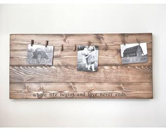 Rustic Wooden Picture Frame, Rustic Frame, Clothespin Picture Frame, Wooden Frame, Rustic Home Decor, Wedding Frame, Farmhouse Decor, photos