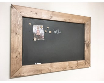 Rustic Wooden MAGNETIC CHALKBOARD,  Memo Board Frame, Farmhouse Bulletin Board, Decorative Framed Chalkboard, Distressed magnet chalkboard