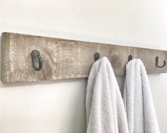 Rustic Wooden Towel Rack, Entryway Walnut Coat Rack, Rustic Wooden Barnwood Entryway Rack, Coat Rack, Rustic Home Decor, Bathroom Towel Bar