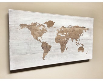 Rustic Wood World Map, Rustic Decor, Farmhouse Decor, Distressed World Travel Map, Push Pin Map, Wall Decor Sign, Wooden World Map