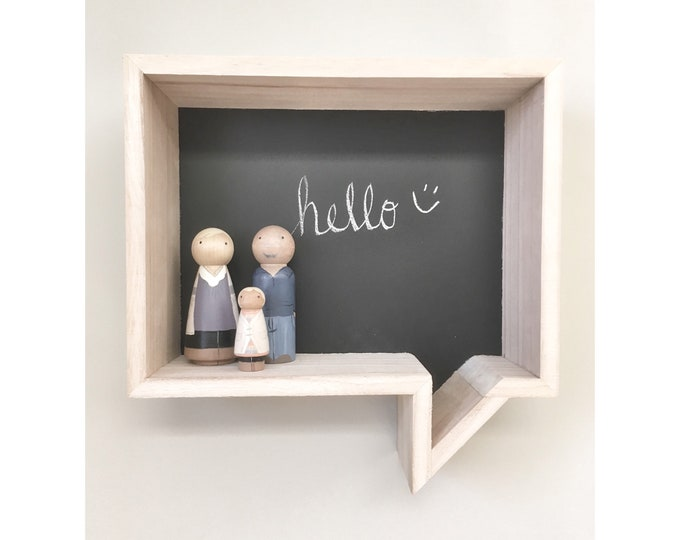 Wooden Conversation Box Shelf, Floating Shelf, Storage Wall Shelves, Conversation Bubble, Kids Room Decor, Wall Chalkboard, Nursery Decor