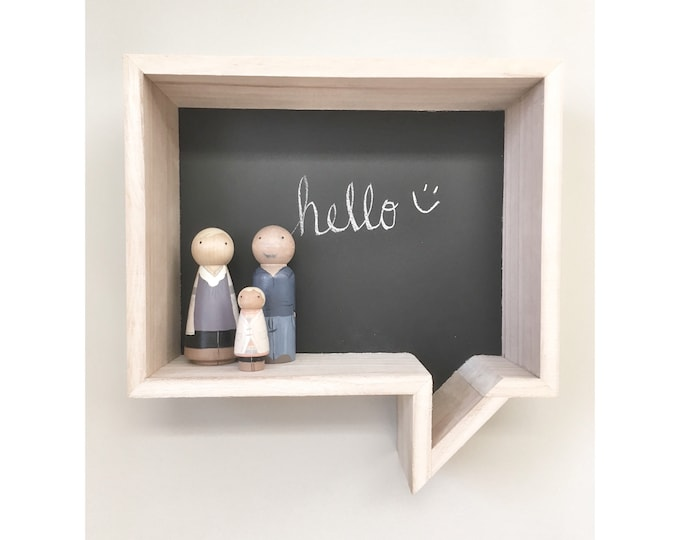 Rustic Wooden Rack Ledge Shelves, Home Decor Storage, Conversation Bubble, Kids Room Decor, Farmhouse Decor, Wall Chalkboard Shelf, nursery