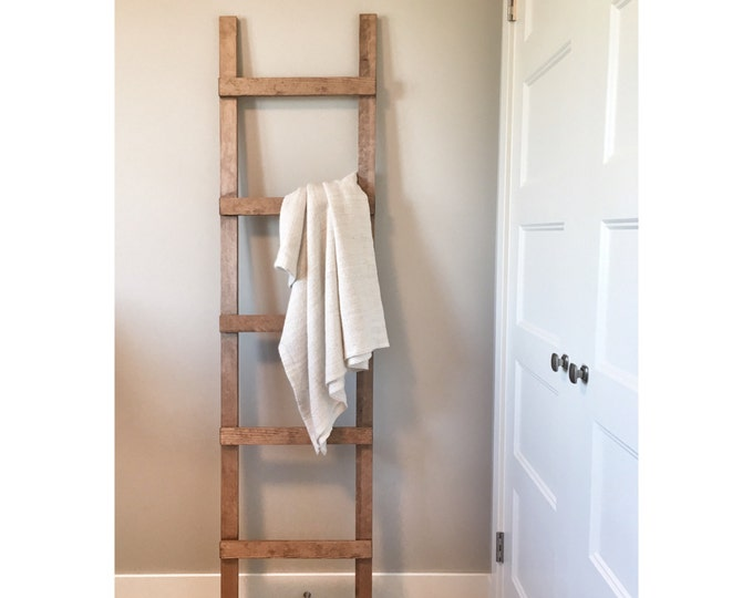 Rustic Wooden Blanket Ladder, Farmhouse Decor, Storage Ladder, Quilt Ladder, Towel Bathroom Decor, Nursery Decor, Wall Decor