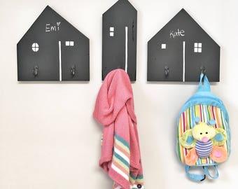 Chalkboard Wood House Hooks, Coat Rack, Home Decor, Kids Nursery Hooks, Kids Room Decor, Wall Hooks for Kids, Kids Playroom Costume Hangers