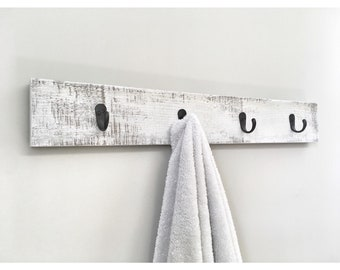 Rustic Wooden Towel Rack, Entryway White Coat Rack, Rustic Wooden Barnwood Entryway Rack, Coat Rack, Rustic Home Decor, Rustic Furniture