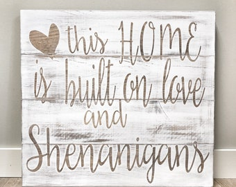 Large Rustic Home Sign, This Home is Built on Love Sign, Rustic Home Decor, Farmhouse Playroom Sign, Wood Nursery Sign, Wall Hanging Sign