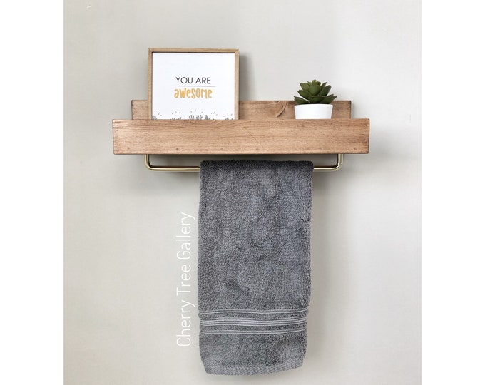 "FREE SHIPPING | 15"" Floating Shelf for Bathroom Storage, Towel Rack, Shelf with Towel Bar, Wall Shelf with Towel Bar, Ledge Shelf Gold Hooks"