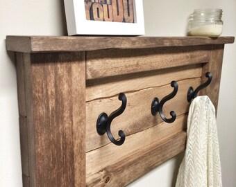 Rustic Wooden Entryway Walnut Coat Rack, Entryway Coat Rack Hooks, Rustic Home Decor, Furniture Floating Wooden Shelf Storage Wood Coat Rack