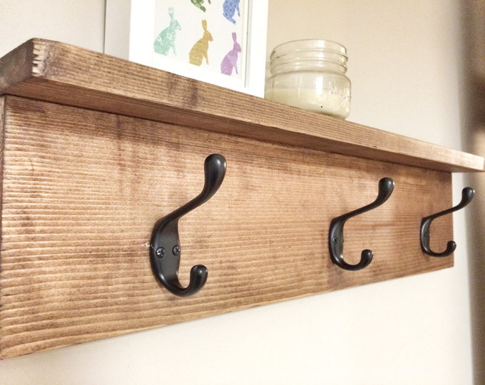 Rustic Wooden Coat Entry Hook Rack with Shelf, Rustic Home Decor, Rustic Furniture, Wall Coat Rack with Hooks, Floating Shelf with Hooks