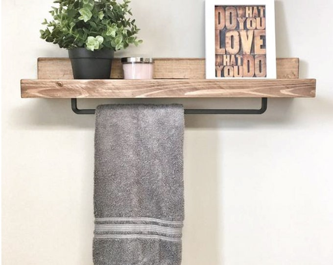 24 inch Rustic Wood Towel Rack Shelf, Ledge Shelves, Wooden Rack, Rustic Home Decor, Bathroom Towel Rack Shelf, Farmhouse towel bar shelf