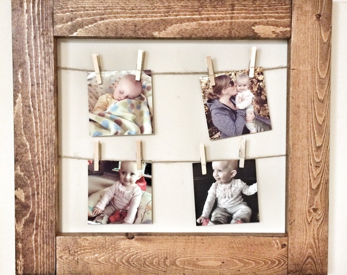Rustic Decorative Picture Frame with Clothespins in dark walnut finish - office home nursery wall decor note photo picture holder
