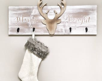Rustic White Wooden distressed Christmas stocking holder - Rustic X-mas Decor, Farmhouse Decor, X-mas Decor, Rustic Decor, Wall Hangings