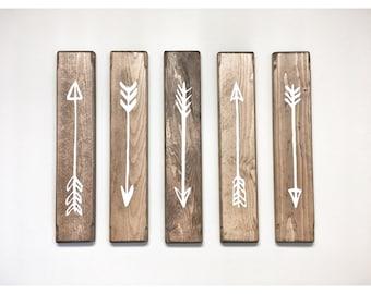 Rustic White Wooden Arrows - 5 Piece Set, Rustic Decor, Farmhouse Decor, Arrow Decor, Rustic Nursery Decor, Gallery Wall Decor, Wooden Arrow