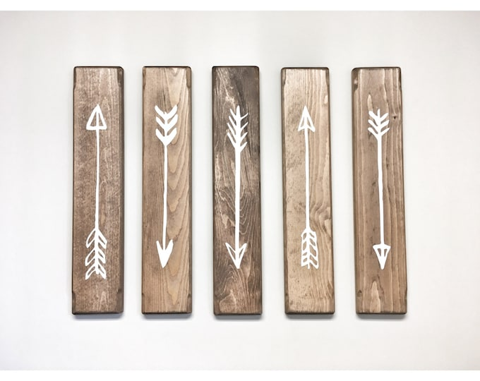 Rustic White Wooden Arrows - 5 Piece Set, Rustic Decor, Farmhouse Decor, Arrow Decor, Rustic Nursery Decor, Gallery Wall Decor, Wooden Arrow