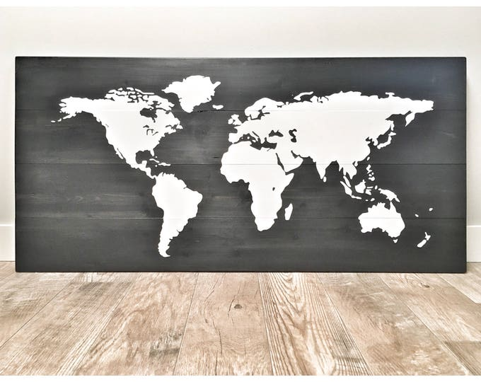 Huge Large Rustic Wood Black World Map, Rustic Decor, Farmhouse Decor, Rustic Nursery Office Decor, Wall Decor, Anniversary Christmas Gift