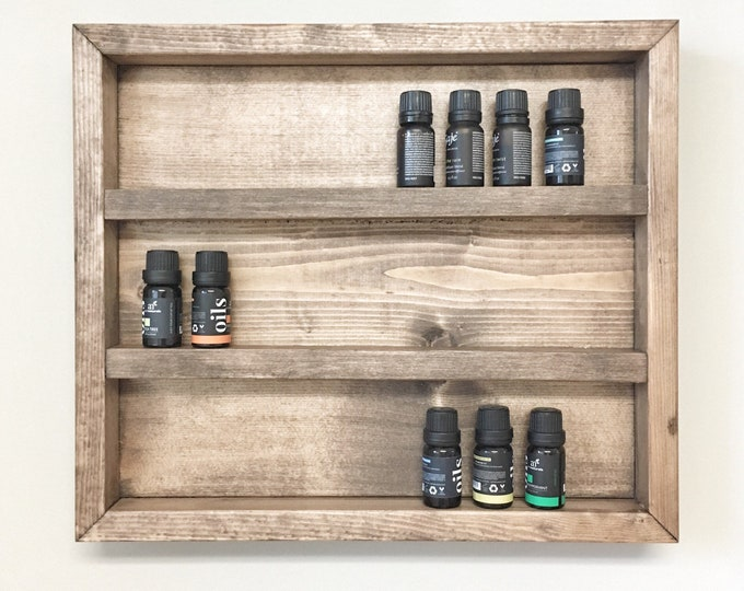 Rustic Wooden Essential Oil Storage Shelf, Bathroom Storage, Cabinet Rack, Essential Oil Display