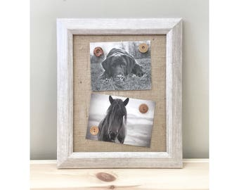 """White Rustic Magnetic Burlap Memo Board Frame - 12.5"""" x 10.5"""" Bulletin Board with Hardwood Construction, Magnetic Wooden Buttons"""