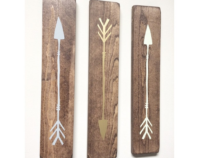 Rustic Grey, Gold, Lime Green Wooden Arrows - 3 Piece Set, Rustic Decor, Farmhouse Decor, Arrow Decor, Rustic Nursery Decor, Gallery Wall De