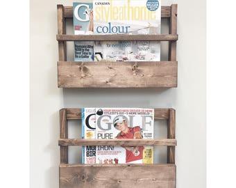 Rustic Wood Magazine Holder, Magazine Storage Rack, Wall Hanging, Rustic Home Decor, Rustic Furniture storage, Newspaper Rack Office Storage