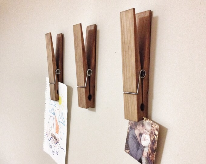 "Large Rustic 9"" Decorative Clothespin in dark walnut finish - office home bathroom nursery laundry wall decor note photo holder x-mas gift"