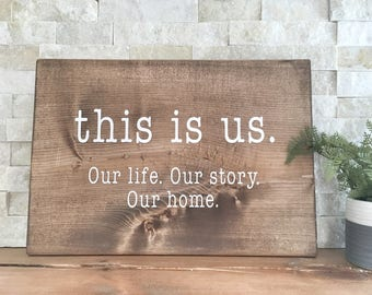 This Is Us Sign, Wall Sign, Family Sign, Wall Sign, Wooden Picture Frame, Rustic Frame, Wooden Farm Sign
