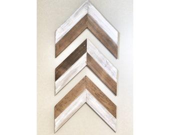 Set of 3 Large Reclaimed Rustic Walnut Wooden Chevron Arrows - Rustic Decor, Farmhouse Decor, Arrow Decor, Rustic Nursury, Wall Decor