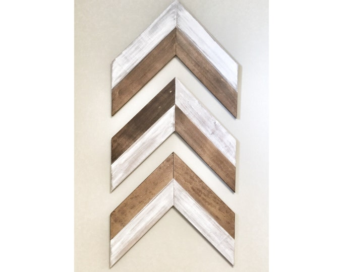 Set of 3 Large Reclaimed Rustic Walnut Wooden Chevron Arrows - Rustic Decor, Farmhouse Decor, Arrow Decor, Rustic Nursury, Wall Decor