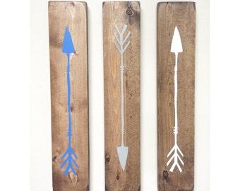 Rustic White Blue Grey Wooden Arrows - 3 Piece Set, Rustic Decor, Farmhouse Decor, Arrow Decor, Rustic Nursery Decor, Gallery Wall Decor, Wo