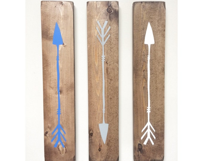 Rustic White Blue Grey Wooden Arrows - 3 Piece Set, Rustic Decor, Farmhouse Decor, Arrow Decor, Rustic Nursery Decor, Gallery Wall Decor, Wo