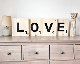 "12"" Giant Jumbo Scrabble Tiles, Letter Tiles, Huge wooden scrabble tiles, Letters to Spell words, Wood Letters for Gallery Wall in Home"