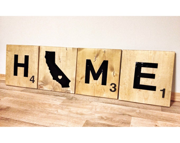 Personalized Wood 4 Scrabble Tiles, Custom Home California State Love (OR ANY STATE) With Heart Over City, Wedding Gift
