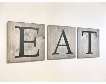 Rustic Wooden Farmhouse Wall Kitchen EAT Sign, Wall Hangings, Dining Room Sign, wood decor, Kitchen Art