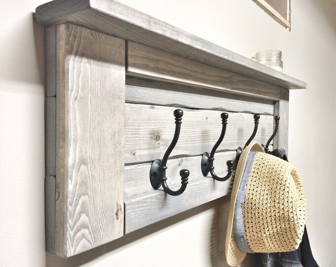Wood Grey Entryway Coat Rack with Hooks, Rustic Home Decor, Bathroom Towel Rack, Wooden Shelf with Storage, Wall Coat Rack, Mudroom Storage