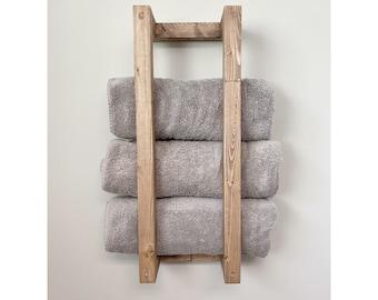 FREE SHIPPING | Wood Towel Rack Shelf, Wall Shelf, Wooden Rack, Rustic Home Decor, Bathroom Towel Rack Shelf, Wall Towel Holder, Pool Towels