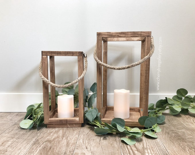 Large Set Wood Candle Lantern Centerpiece, Wedding Table Lantern Decoration, Farmhouse Decor, Wooden Candle Holder, Country Barn wedding