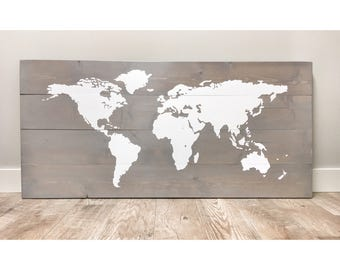 Gifts for Dad, Husband Gift, Wood World Map, Travel Map, Farmhouse Decor, Rustic Push Pin Map, Travel Push Pin Map, World Traveller Gift