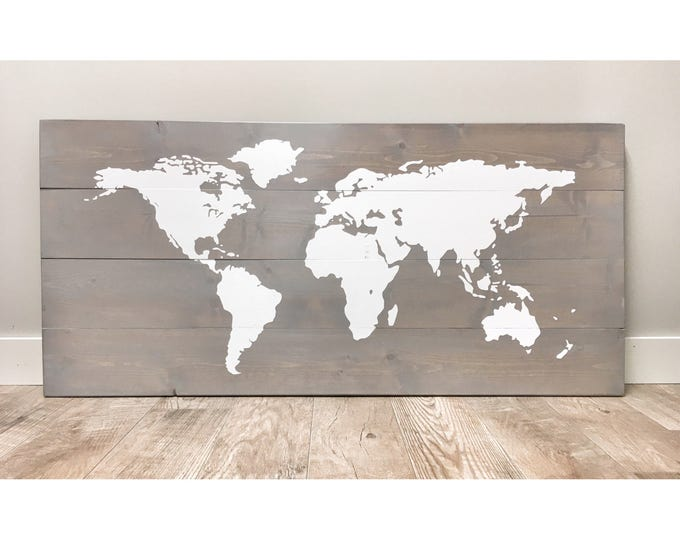 Rustic Wood World Map, Rustic Decor, Farmhouse Decor, Rustic Nursery Decor, Wall Decor, Wooden White World Map, rustic wedding - 46 x 22