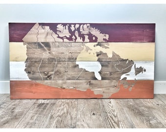 FREE SHIPPING | Rustic Wood Canada Map, Rustic Decor, Gift for Her Him, Nursery Decor, Wall Decor, Wooden Office Wall Art Decor, Office Art